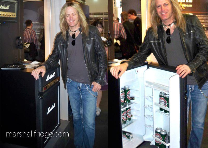 Whitesnake's Doug Aldrich sizing up the Marshall Fridge at Musikmesse in Frankfurt, Germany