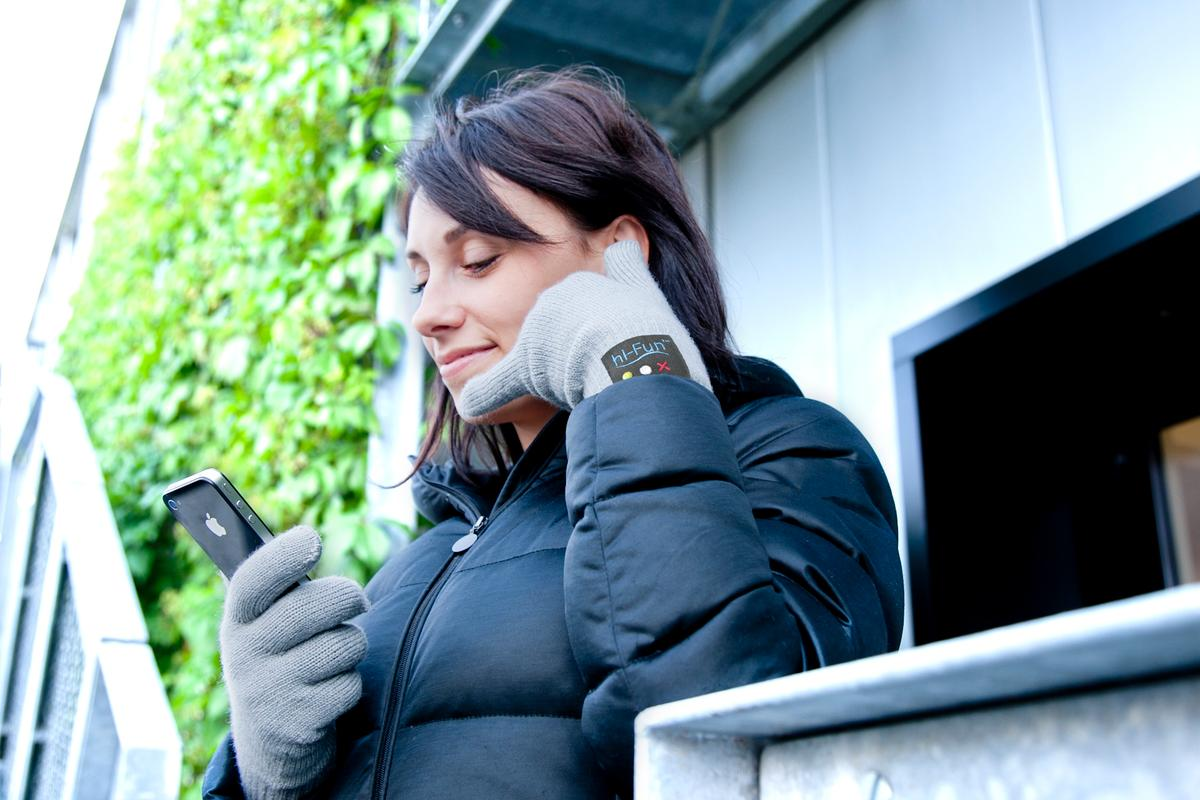 "The hi-Call is a Bluetooth-enabled glove that allows users to talk on a paired mobile phone by making the ""call me"" hand gesture"