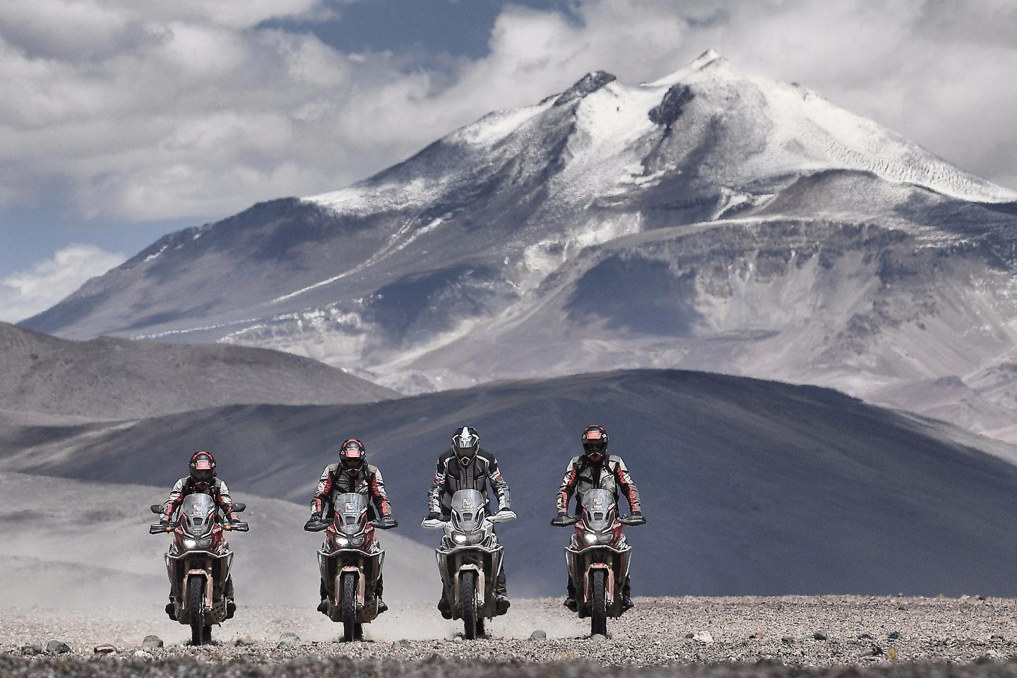 The fleet of Honda Africa Twins on the way to a world record