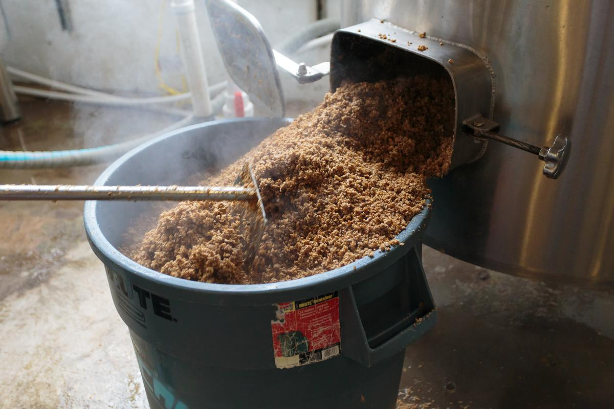 Spent brewery grain is typically composted, or sometimes used in animal feed