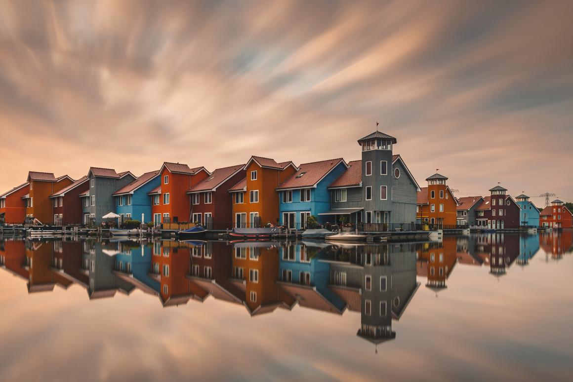 Long exposure sunset shot in the District in the city of Groningen, Netherlands