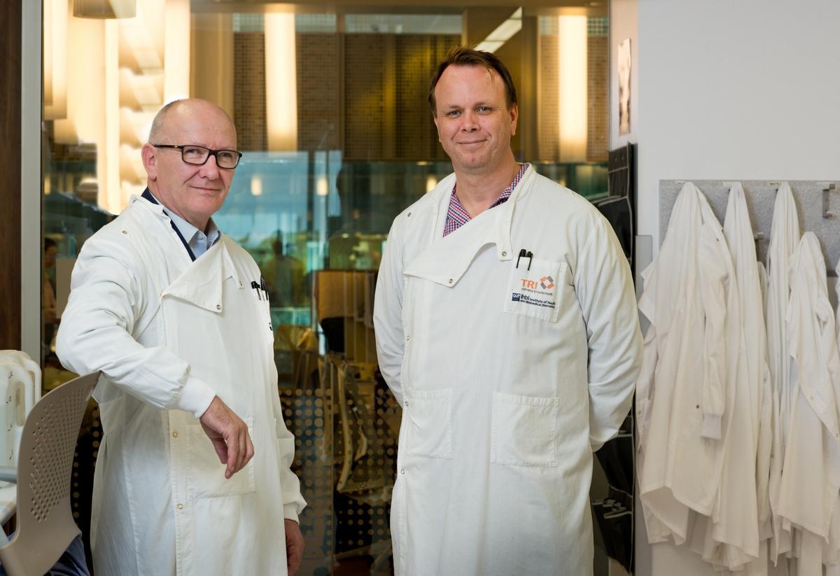 Professors Ken O'Byrne (left) and Derek Richard are developing an anti-aging drug