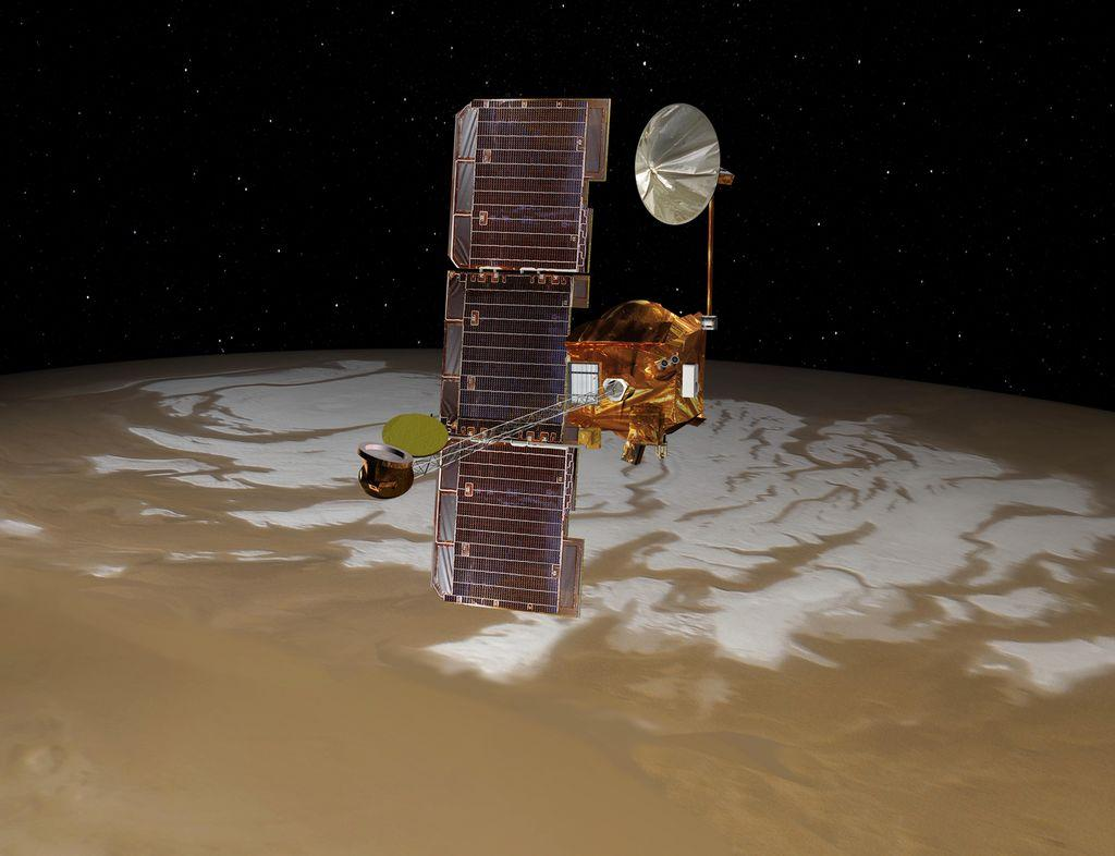 Artists impression of the Mars Odyssey orbiter, the longest-operating spacecraft ever sent to Mars