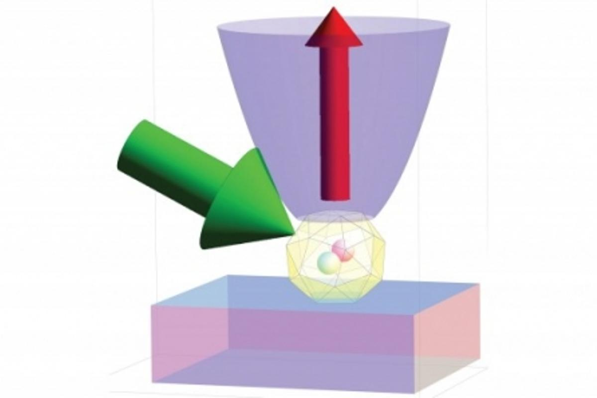When hit by green light, nitrogen impurities in diamonds become fluorescent and emit a bright red light (Image: J. Taylor, NIST)