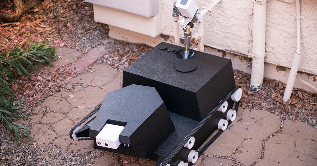 Tank-like robot designed to autonomously tend gardens
