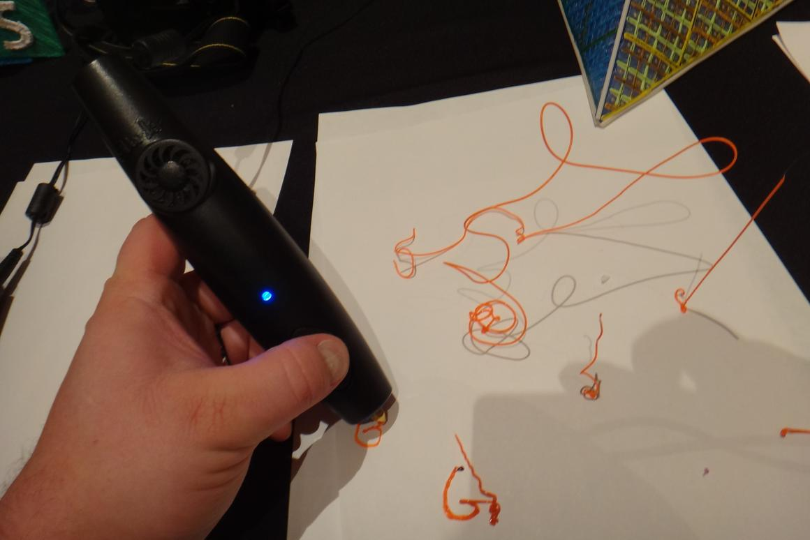 """During CES 2014, Gizmag had the chance to try out the 3Doodler, a """"3D drawing pen"""" that uses plastic filament instead of ink to sketch inventive objects"""