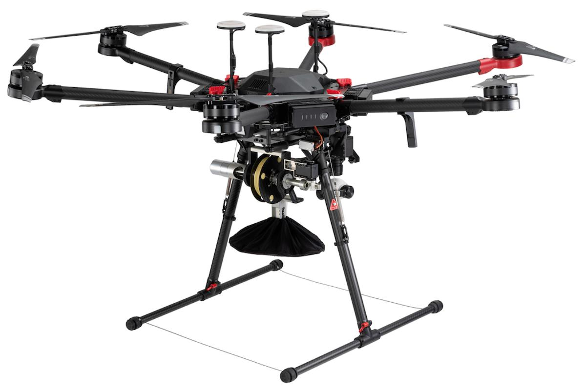 A DJI Matrice 600 Pro drone, equipped with the RDS1 system