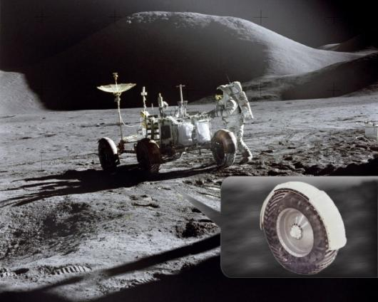 Lunar module pilot James Irwin works at the Lunar Roving Vehicle during the first Apollo 15 lunar surface extravehicular activity at the Hadley-Apennine landing site. Inset: close up of original tire (Image: NASA)