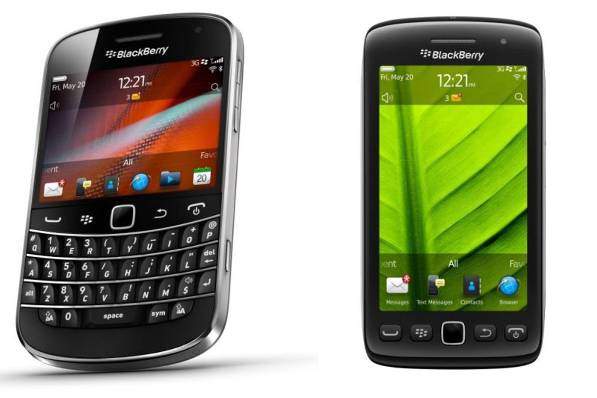 Two of Research In Motion's new smartphones, the BlackBery Bold 9900 / 9930 & BlackBerry Torch 9860 / 9850