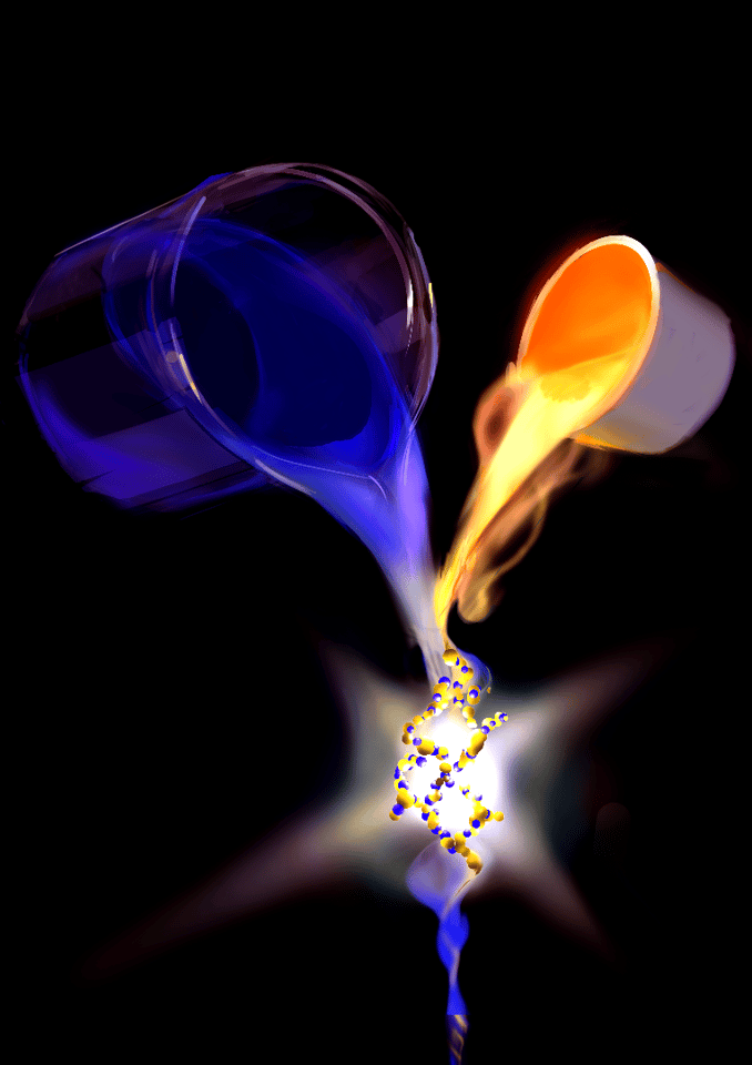 A blue dye molecule emits a photon and is trapped inside a gold nanocavity, where it's forced to form a strong coupling with matter
