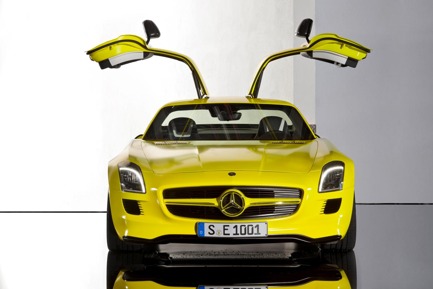 The gullwinged Mercedes-Benz SLS AMG E-CELL