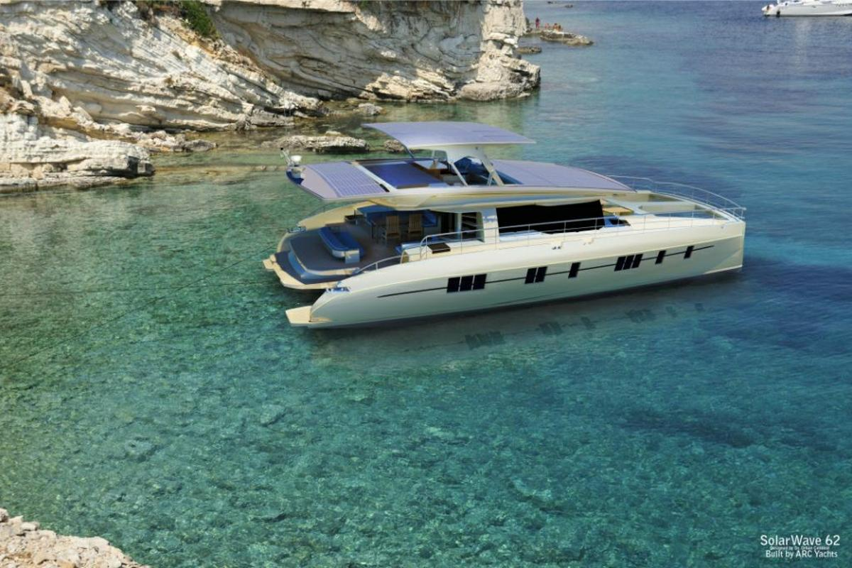 Solarwave 62' is a lightweight, one hundred percent solar-powered catamaran with zero emissions and consumptions