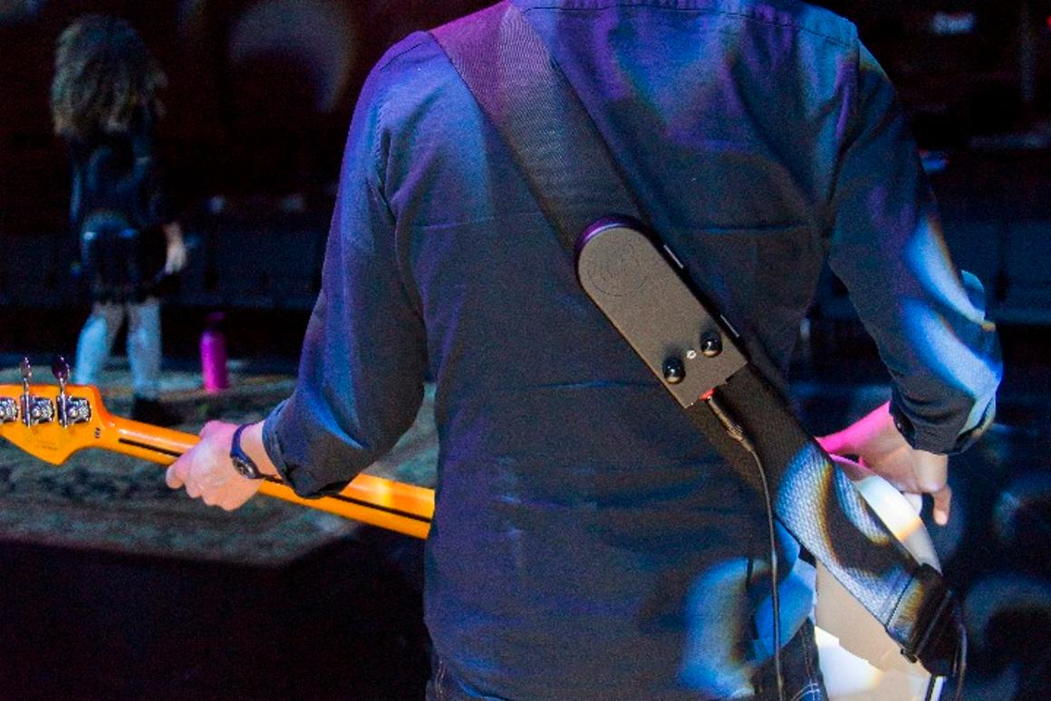 The BackBeat wearable subwoofer can run on battery power or be plugged into the mains