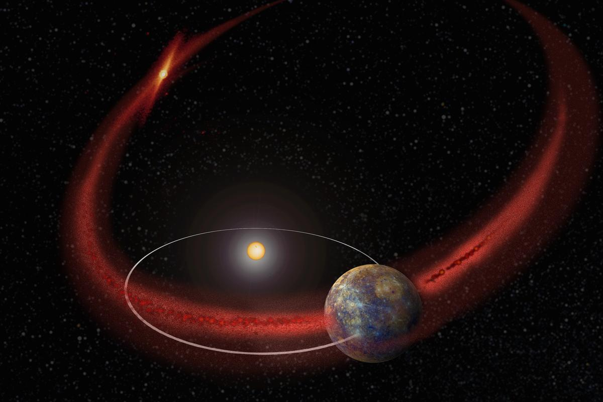 Artist's impression of the Mercury periodic meteor shower (Image: NASA's Goddard Space Flight Center)