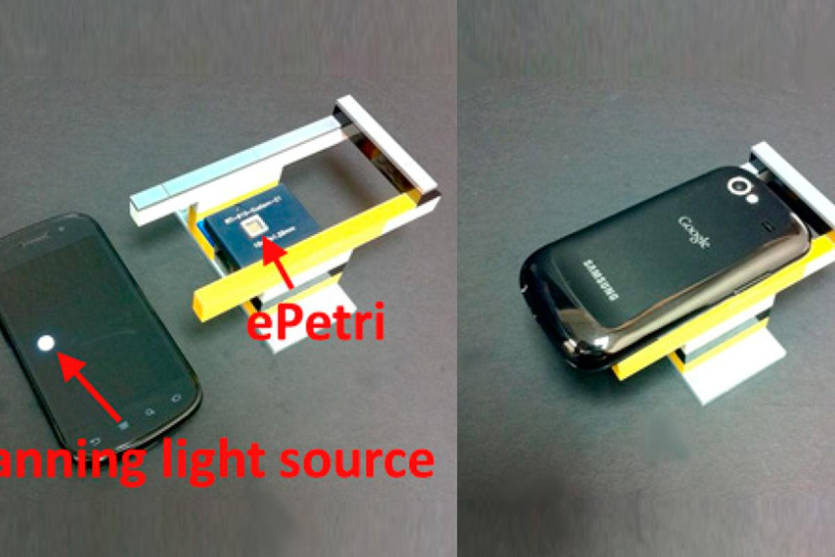 The ePetri prototype uses an image sensor and a smartphone's LED display as a scanning light source (Image: Guoan Zheng, California Institute of Technology)