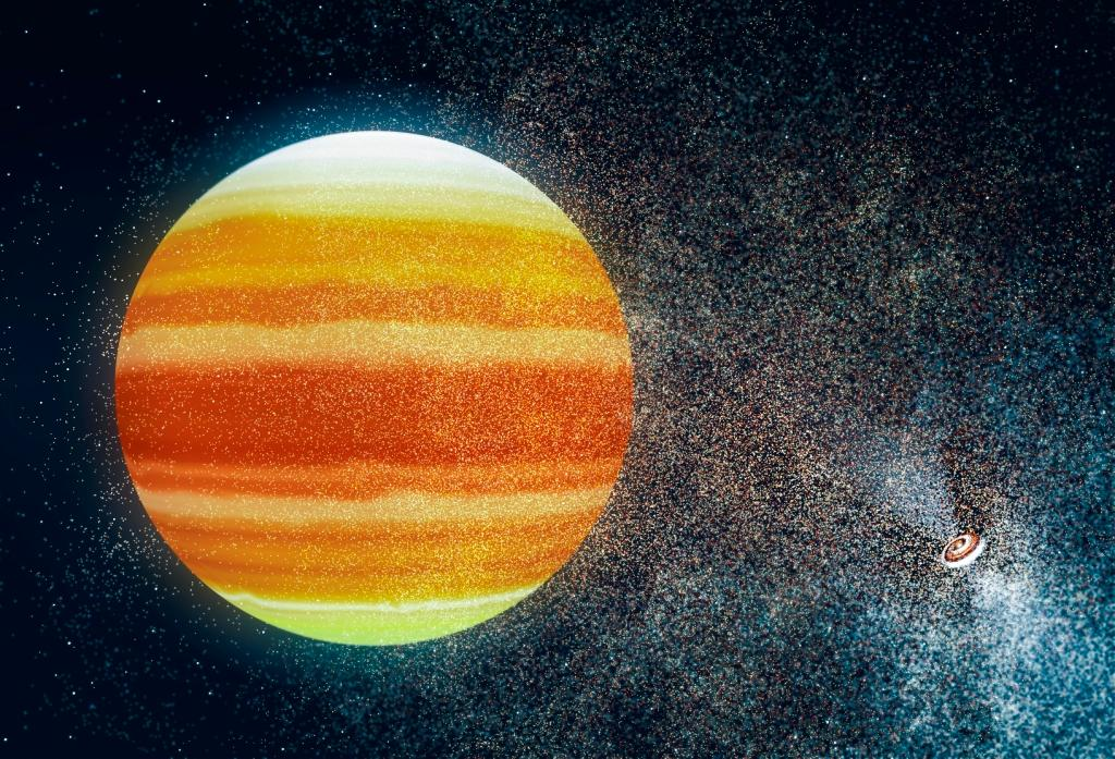 An artist's impression of a super-Earth planet orbiting a pulsar (lower right)