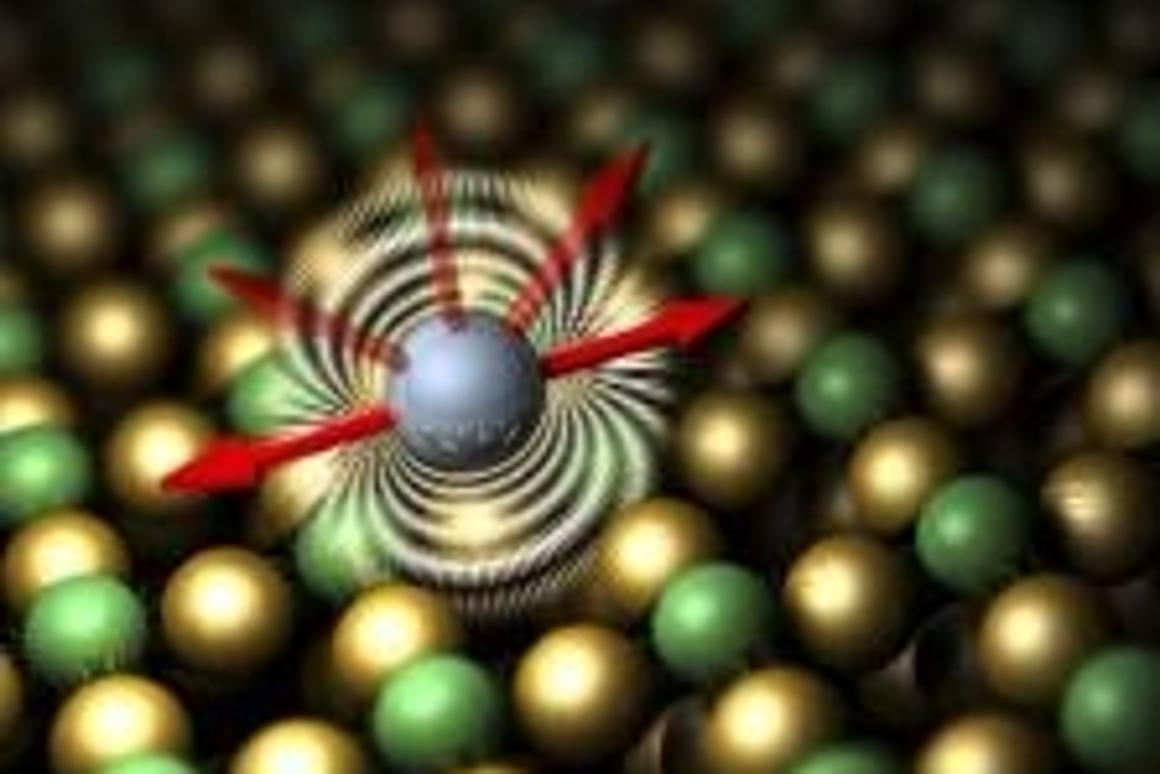 Illustration of the preferred magnetic orientation of an iron atom on a specially prepared copper surface. The ability of an atom to maintain its magnetic orientation can help determine that atom's suitability for storing data.