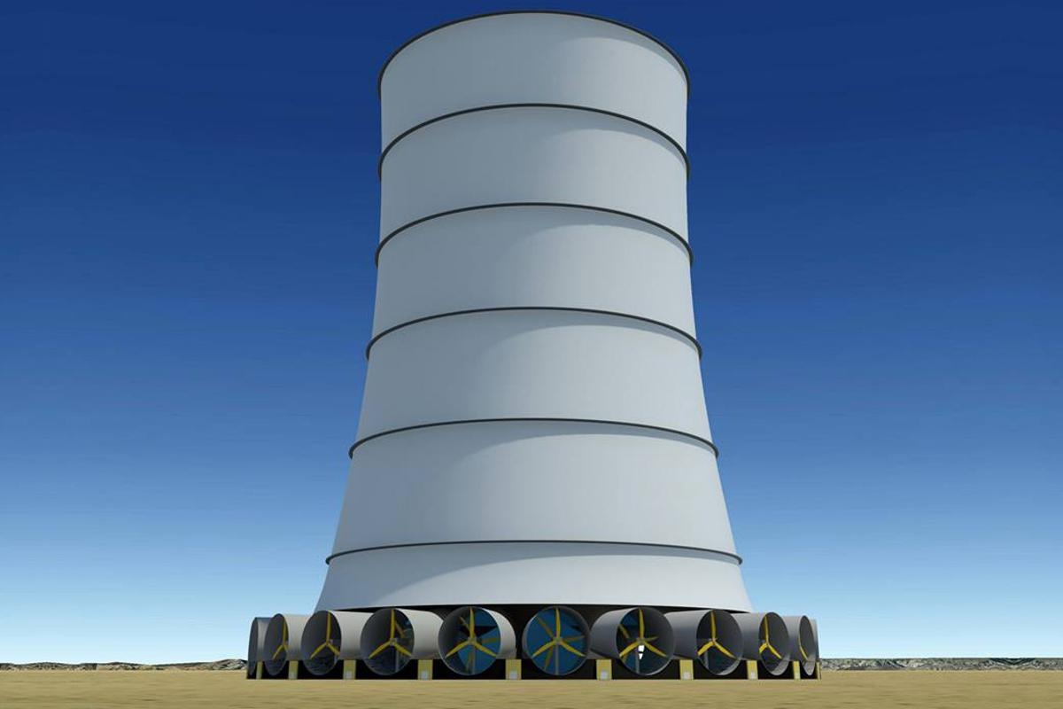 Solar Wind Energy's Downdraft Tower generates its own wind that is directed down the hollow tower and through turbines placed around its base