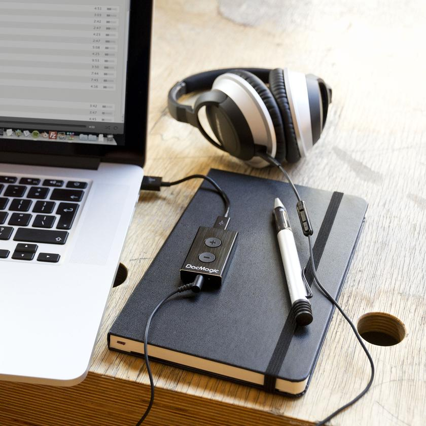 The DacMagic XS sits between a USB port on a computer or laptop and your headphones