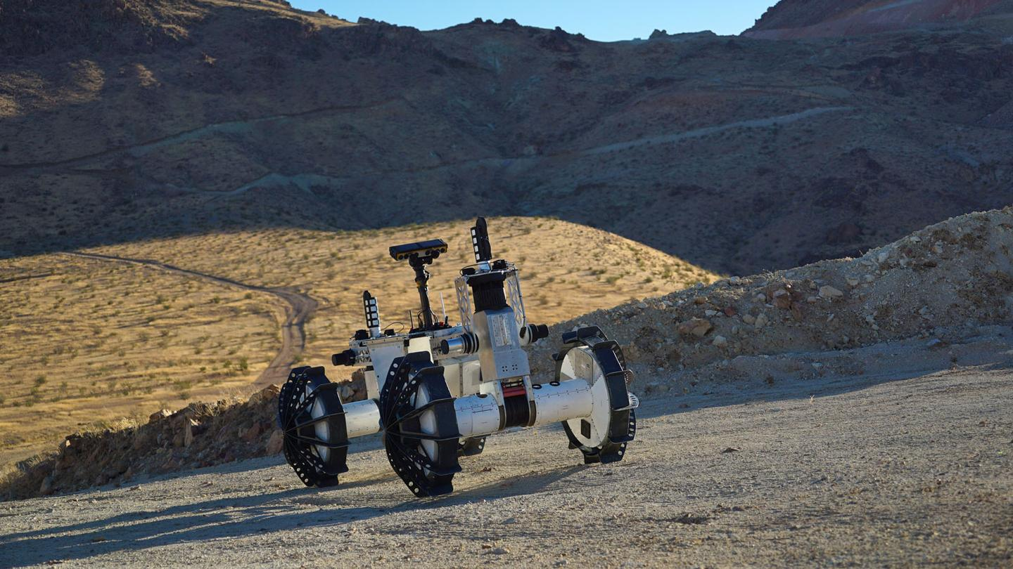 The DuAxel rover, pictured here in its single-unit cruising configuration