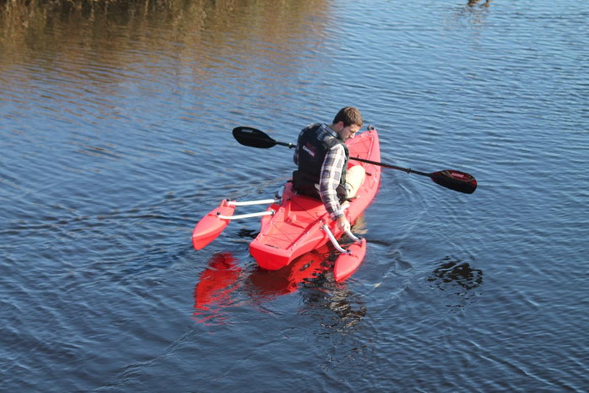 The position of the XS-1's outriggers can be adjusted on the water