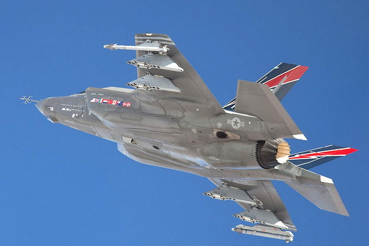 An F-35A Joint Strike Fighter with an external weapons load (Photo: Paul Weatherman at Lockheed-Martin)