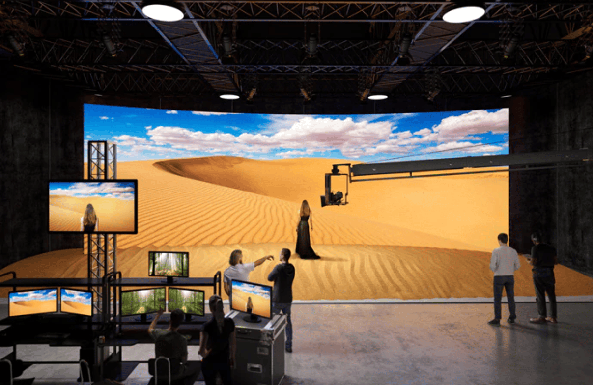 Sony's Crystal LED modules can be combined to make a curved display for virtual sets and production backdrops