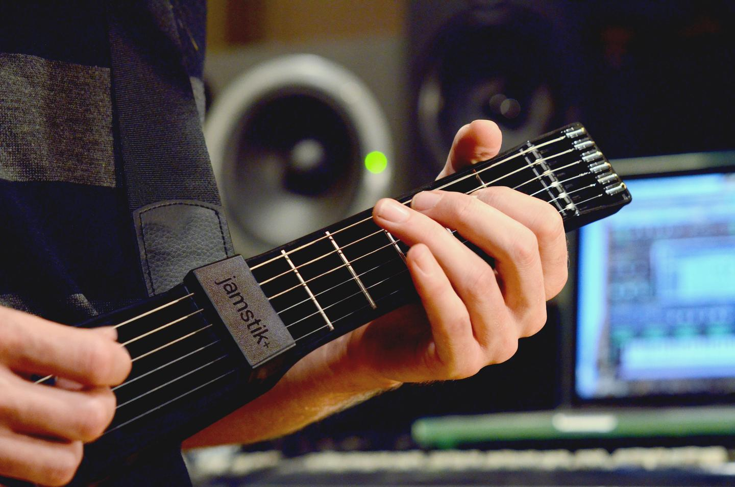 The jamstik+ smart guitar for learners sports IR finger tracking, Bluetooth connectivity and real guitar strings