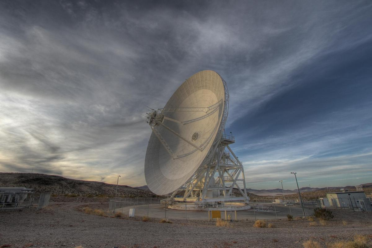 The Goldstone Deep Space Communications Complex is part of the Deep Space Network used to communicate with Mars missions