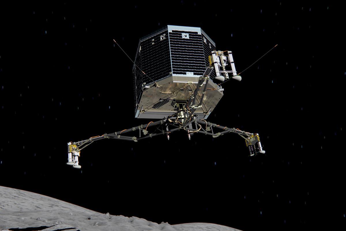 Artist's impression of Rosetta's Philae probe approaching comet