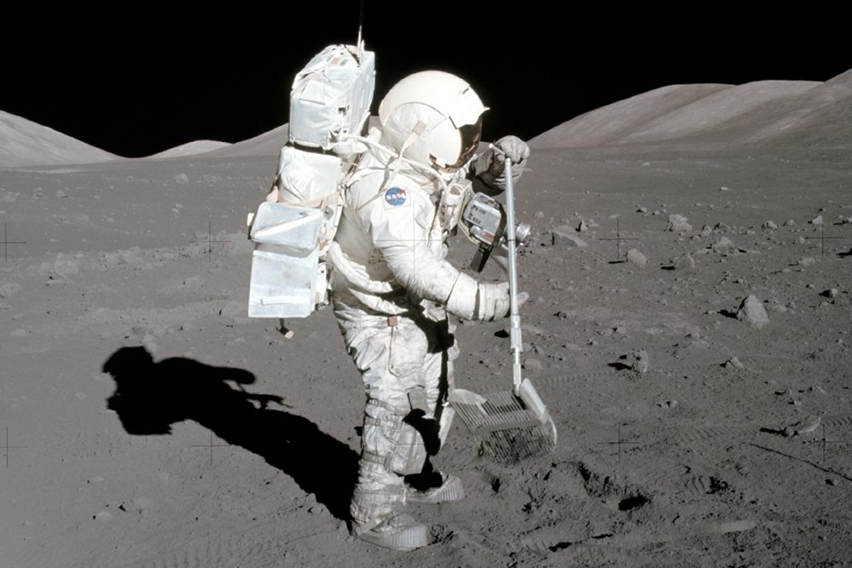 Astronaut Harrison Schmitt collects lunar samples during the Apollo 17 mission