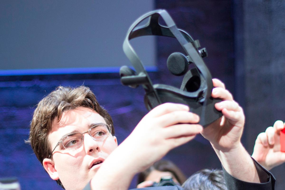 Oculus VR's founder Palmer Luckey showing off the Oculus Rift