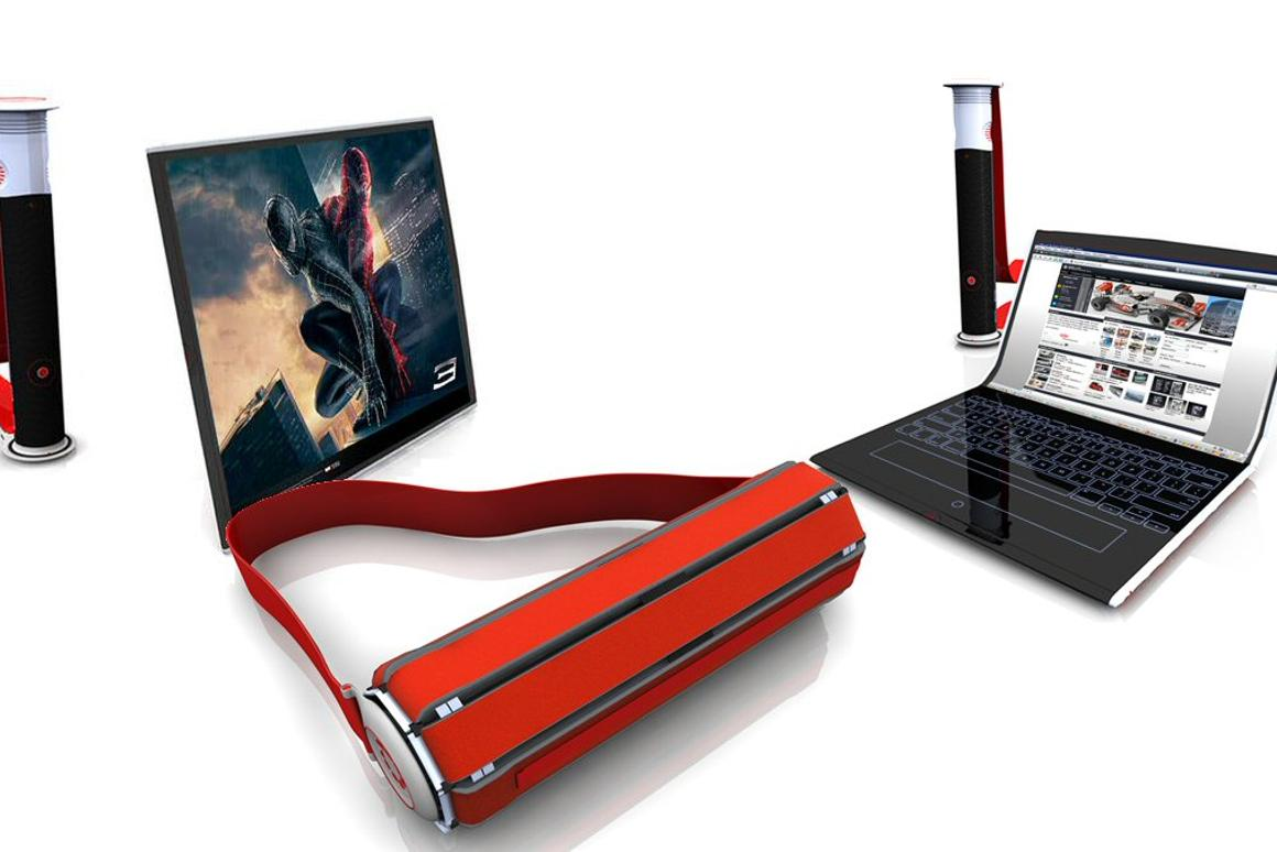 The Rolltop concept proposes wrapping a flexible OLED display around a central column for easy transport, and unrolling it when needed for tablet, monitor or laptop functionality(All images: Orkin Design)