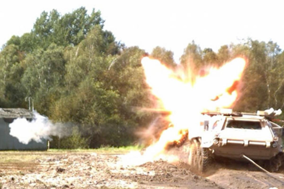 Rheinmetall AG's newly developed Active Defense System (AMAP-ADS) fends off an RPG (Photo: Rheinmetall AG)