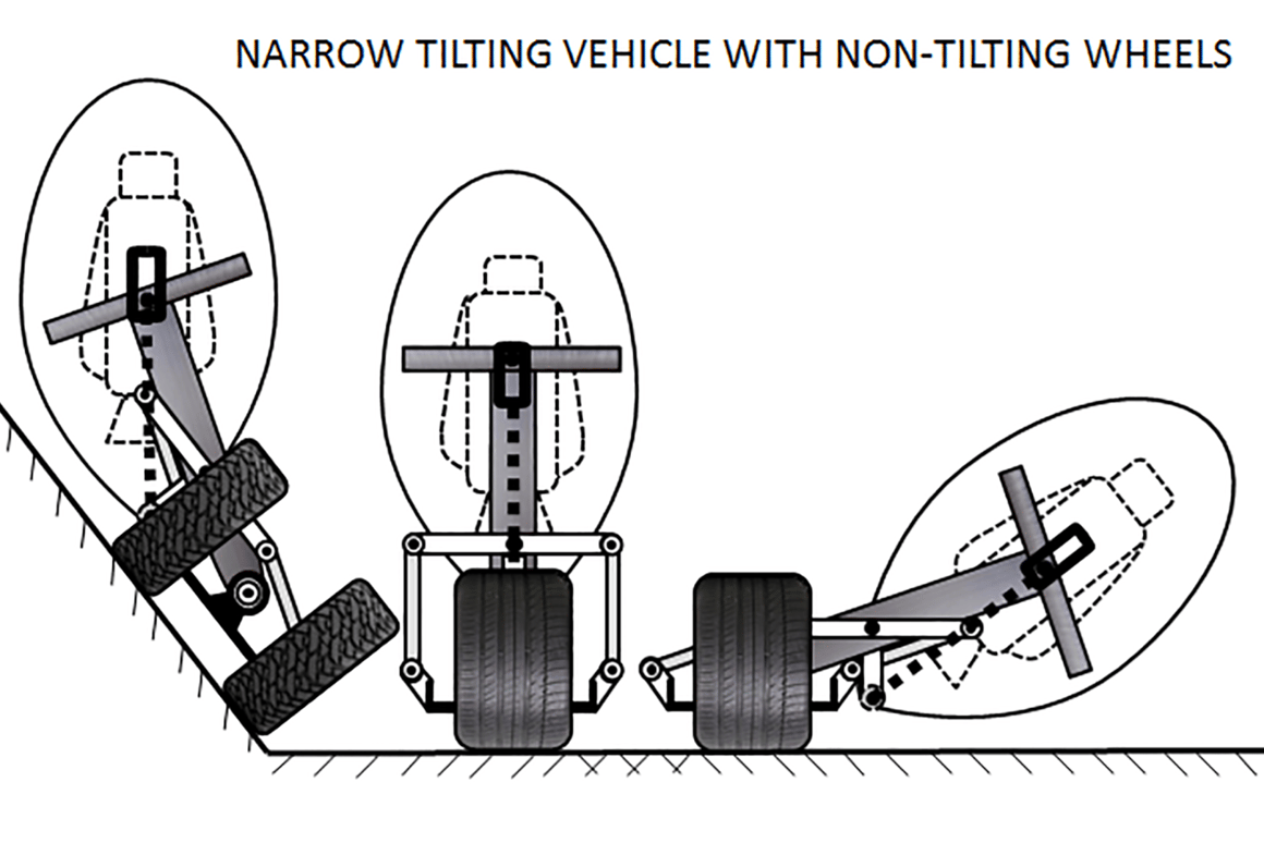 Frank Knisley'sNarrow Tilting Vehicle with Non-Tilting Wheels