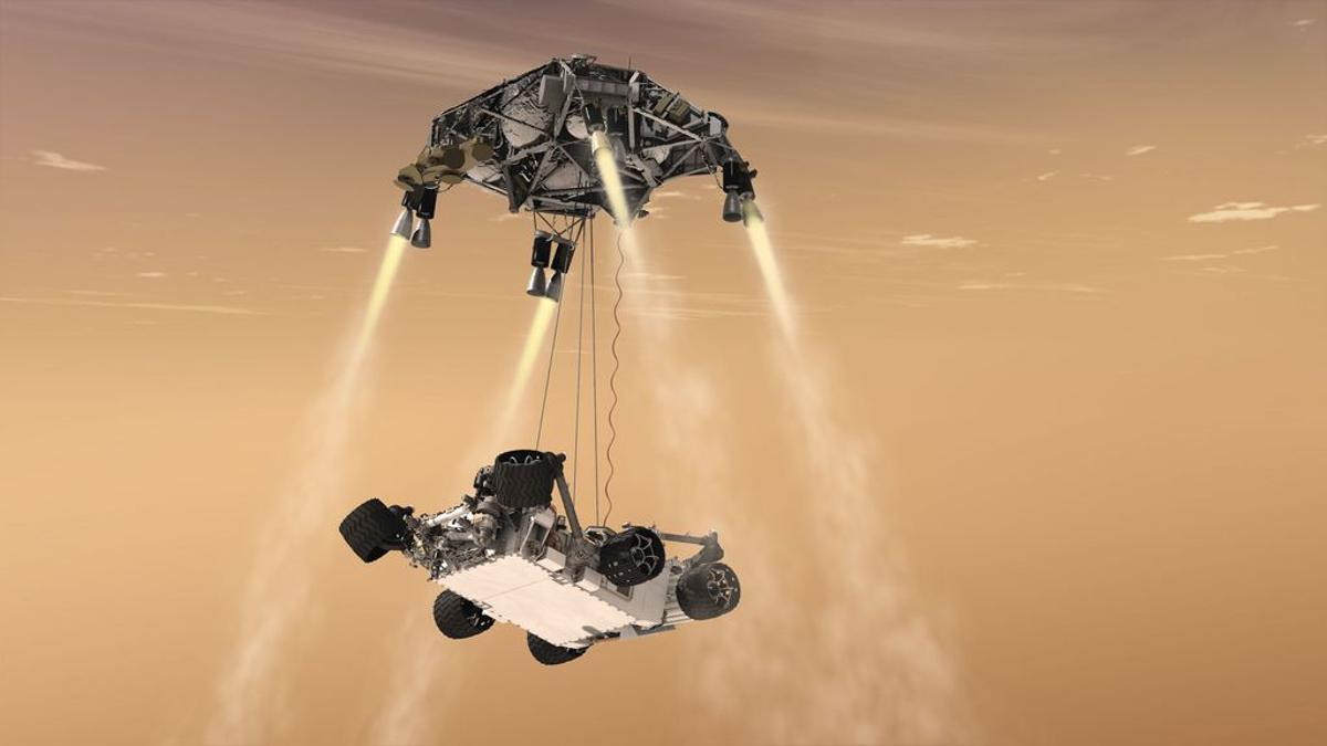 An artist's impression of the Mars Science Laboratory moments before touching the Martian ground (Image: NASA/JPL-Caltech)