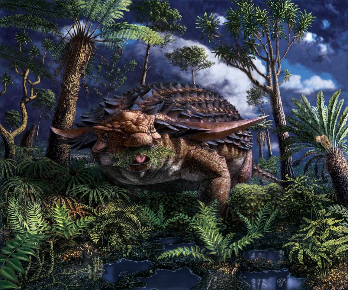 An artist's illustration of Borealopelta markmitchelli, enjoying a meal of ferns