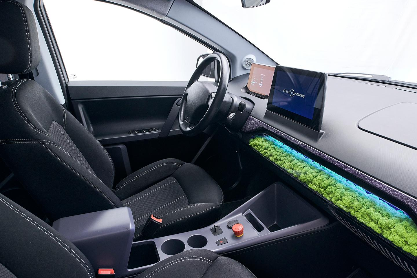 The Sion's interior has been fleshed out in the second generation prototype, with the Island Moss filtration system installed and the infotainment system active