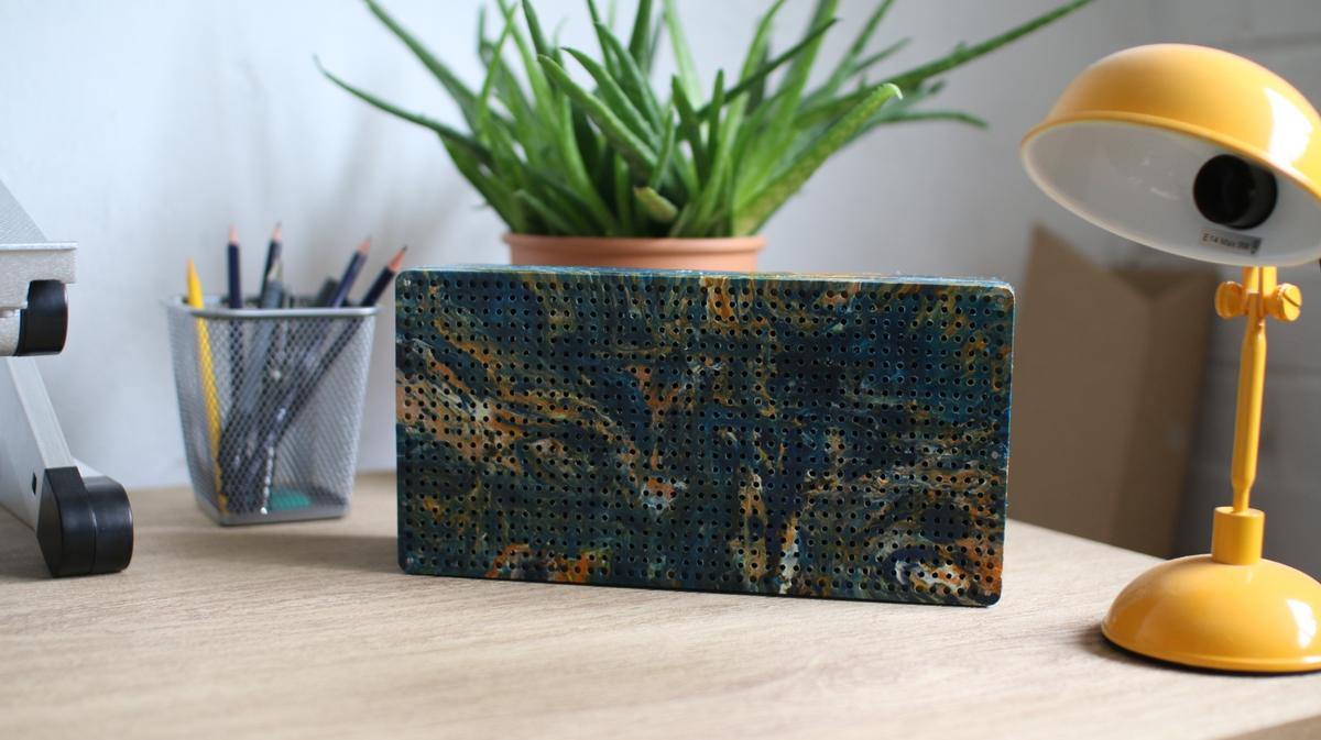 The Gomi speaker is made using plastic waste that is not accepted for recycling by UK municipalities