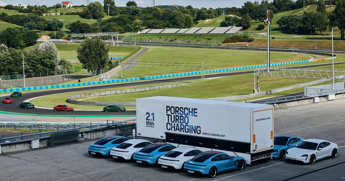 Porsche rolls out 2.1-MWh charging trailers for Taycan track days