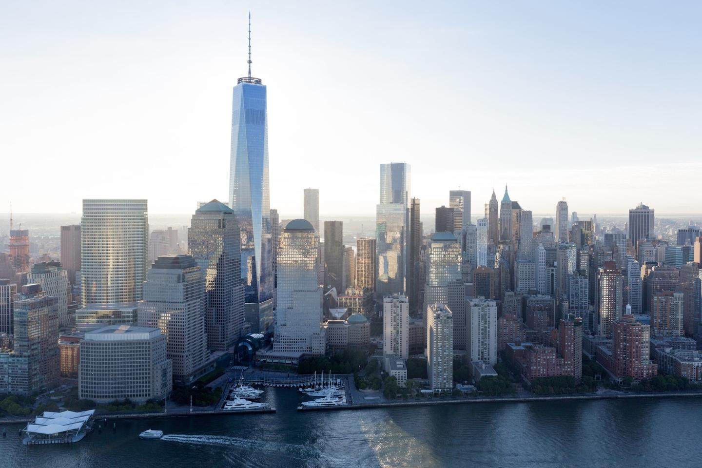 The One World Trade Center rises to a symbolic height of exactly 1,776 ft to mark the US Declaration of Independence
