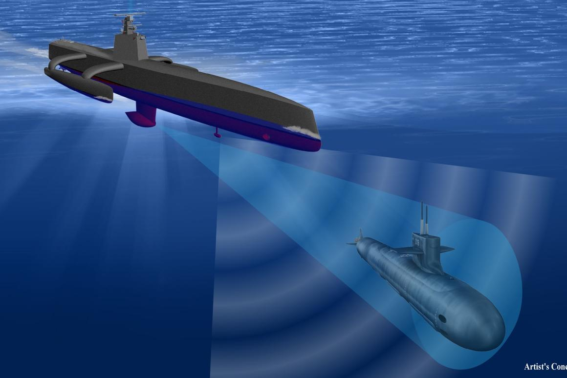 The ACTUV is designed to autonomously track potentially hostile submarines