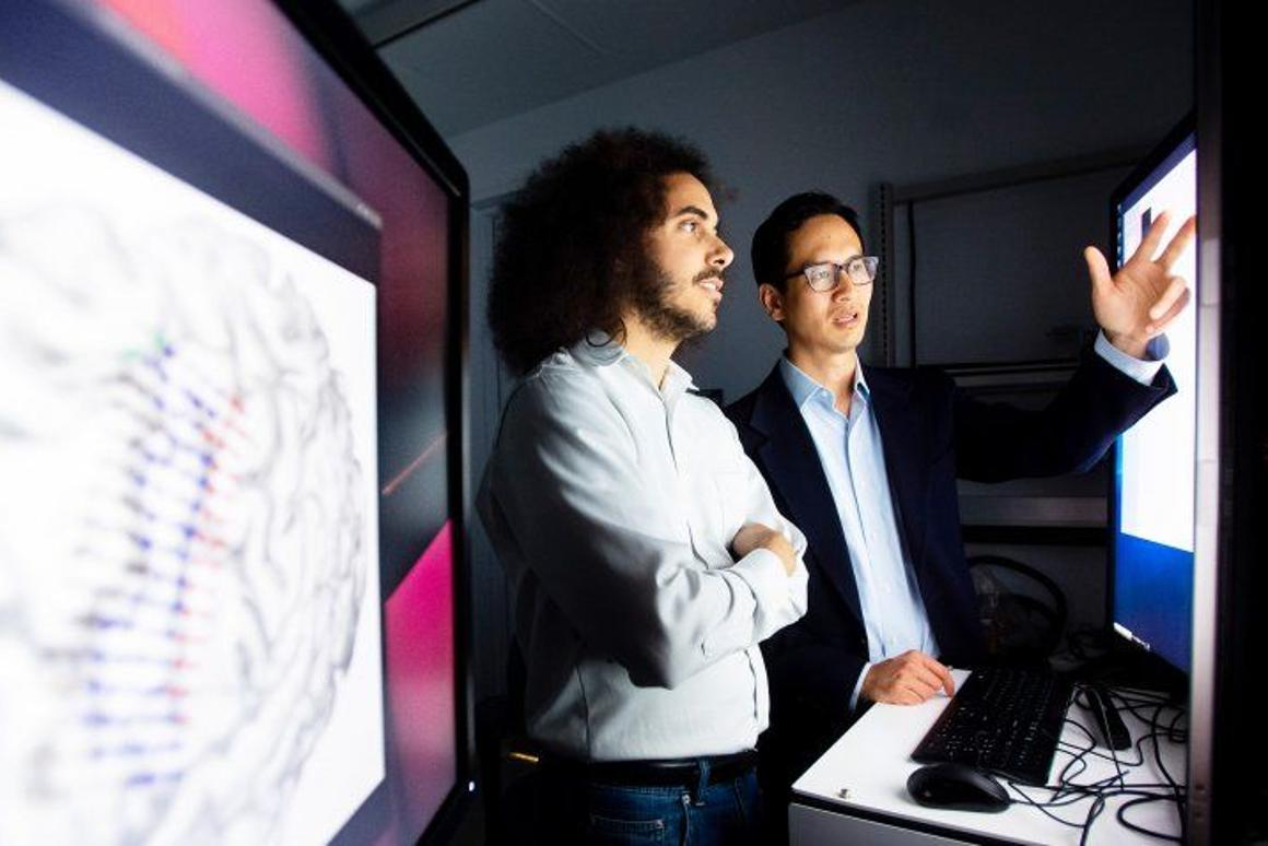 The University of California San Francisco'sEddie Chang (right)and David Moses, who helped developthe new real-time brain signal translation technology