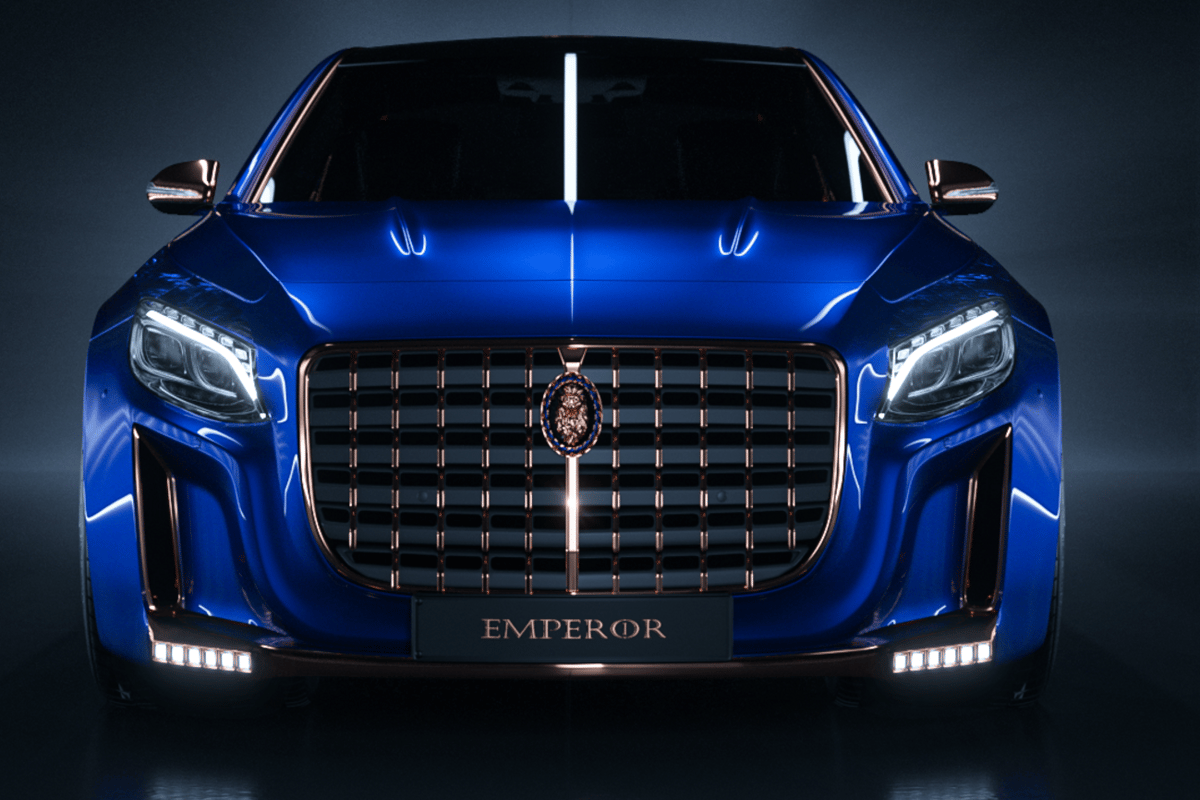The car's gold grille is designed to make it stand out from the crowd