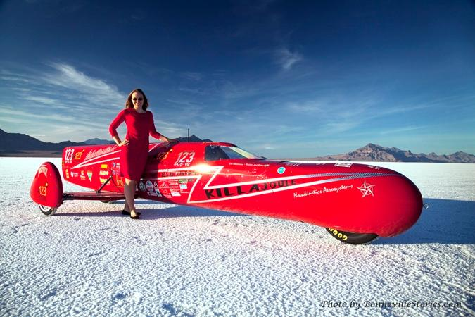 Eva Håkansson has broken a number of land speed records with her KillaJoule electric sidecar motorcycle (Photo: BonnevilleStories.com)