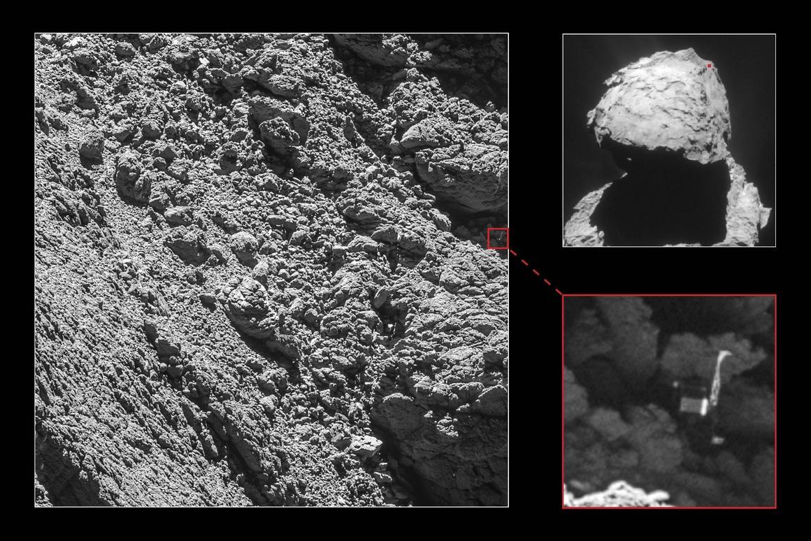 Rosetta's lander Philae has been identified in OSIRIS narrow-angle camera images