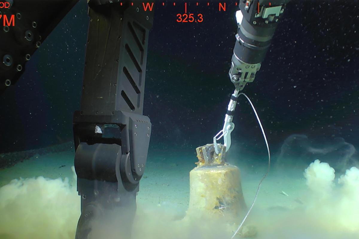 The bell of HMS Hood recovered after 74 years