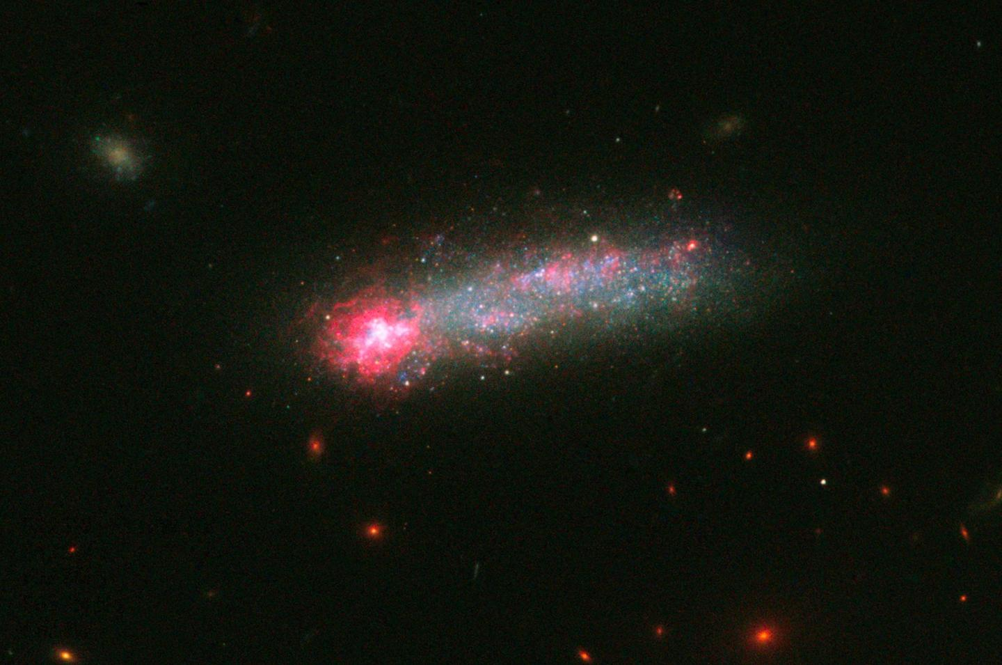This image of Kiso 5639 was captured using Hubble's Wide Field Camera 3 – it is believed that the galaxy encountered the primordial gas filament some time in the last 1 million years