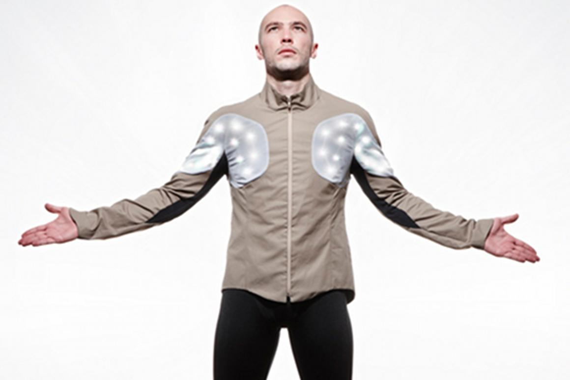 """The Utope Project's Sporty Supaheroe integrates sensors and RGB LEDs into an """"intelligent"""" cycle jacket"""