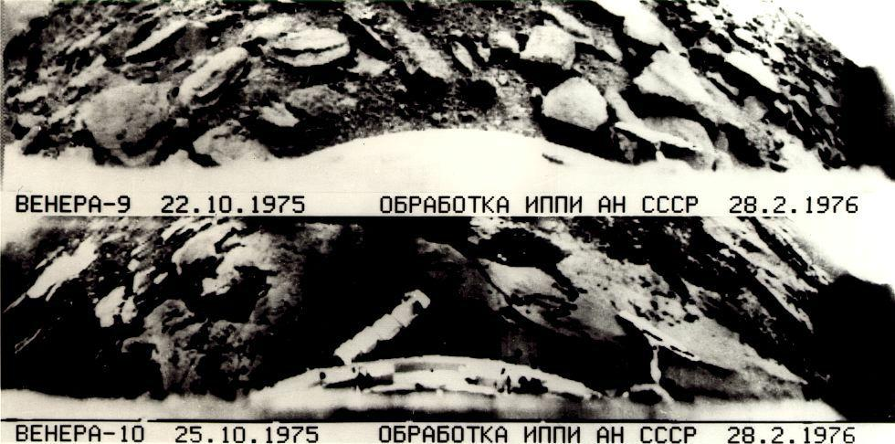 Surface photographs of Venus taken from the Soviet Venera 9 and 10 spacecraft